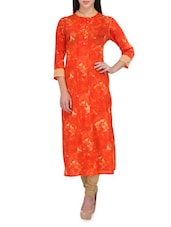 Orange Floral Printed Quarter Sleeved Cotton Kurti - By