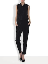 Black Polyester  Sleeveless Jumpsuit - By