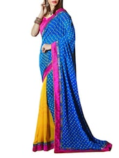 Blue And Yellow Printed Georgette Saree - By