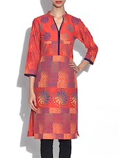 Red Multi Printed Quarter Sleeved Cotton Kurti - By