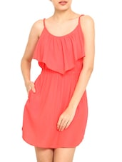 Coral Poly Crepe Ruffle Detail Short Dress - By