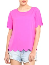 Magenta Poly Crepe Scalloped Hem Top - By