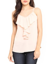 Peach Poly Crepe Ruffle Detail Spaghetti Top - By