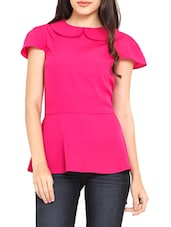Fuchsia Poly Crepe Peplum Top - By