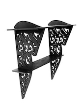 Black Wooden Wall Bracket With Abstract Cutwork - By