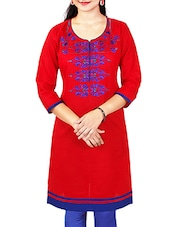 Embroidered Straight Fit Red Cotton Kurti Colour - Red   Lining -  No Material- Cotton Touch And Feel - Soft Dry Work/print/valu - By