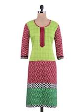 Green Cotton Polka Dot Embroidered Straight Kurta - By