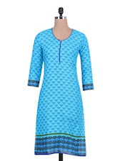 Blue Cotton Printed Straight Kurta - By