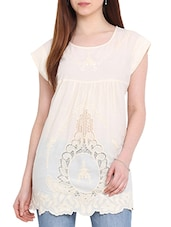Embroidered Ecru Cotton Top With Scalloped Hem - By