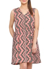 Abstract Printed Peach And Black Polyester Dress - By