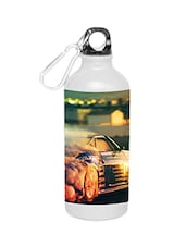 White Stainless Steel Dazzling Car Water Bottle - By