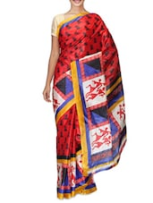 Red Printed Art Silk Saree - By