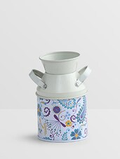 White Printed Metallic Milk Can - By