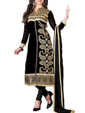 Multi Embroidered Georgette Chudidar Unstitched Dress Material(Black) - By