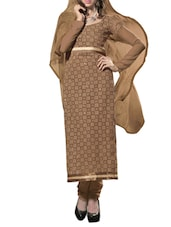 Multi Embroidered Georgette Chudidar Unstitched Dress Material(Brown) - By