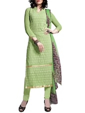 Multi Embroidered Georgette Chudidar Unstitched Dress Material(Green) - By