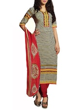 Printed Crepe Chudidar Unstitched Dress Material(Cream,Black,Red) - By