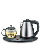 Silver Stainless Steel And Black Plastic Tea Set (3 Pcs) - By