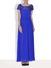 Solid Blue Crepe Maxi Dress - By