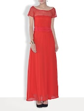Red Net Maxi Dress - By