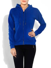 Cobalt Blue Hooded Cotton Sweatshirt - By