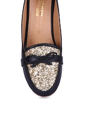 Black Embellished Faux Leather Wedge Loafers - By