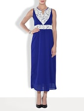 Royal Blue Poly Crepe Dress With Lace Details - By