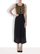 Black And Brown Printed Georgette Dress - By
