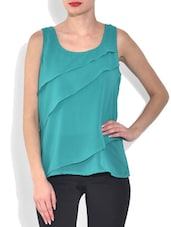 Teal Blue Tiered Polyester Top - By