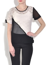 Black And White Short Sleeved Net Top - By