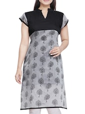 Black And Grey Cotton Printed Kurta - By