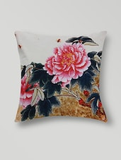 Set Of 2 White Floral Printed Cotton Cushion Covers - By