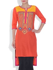 Rust Printed High Low Cambric Kurta - By