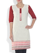 Off White Printed South Cotton Kurta - By