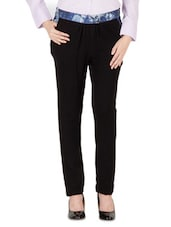 Black Mehzin Rib Printed With   Full Length Trousers - By