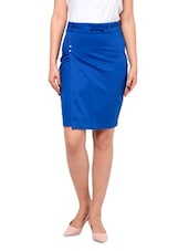 Blue Cotton, Satin And Lycra  Pencil Skirt - By