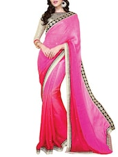 Pink Satin, Chiffon And  Jacquard Lace Worked Saree - By