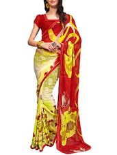 Multi-coloured Georgette Printed Saree - By