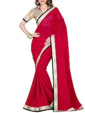 Red Faux Georgette Printed Saree - By