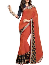 Brown Georgette And Brasso Patch Worked Saree - By