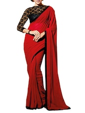 Black And Red Chiffon Saree - By