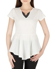 White Poly Crepe Short Sleeved Top - By