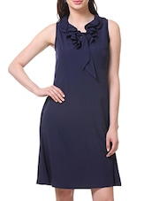 Blue Polycrepe Ruffled Neck Dress - By