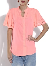 Peach Crepe Shirt With Mandarin Collar - By