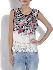 Multicolored Crepe Floral Print Top - By