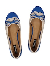 Blue Cutwork Faux Leather Ballerina With Bow - By