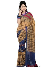 Beige And Navy Blue Plaid Print Chiffon Saree - By
