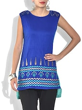 Blue Cotton Knit Printed Sleeveless Short Kurta - By