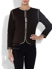 Chocolate Brown Embroidered Woollen Coat - By