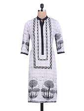 White And Black Printed Kurti - By